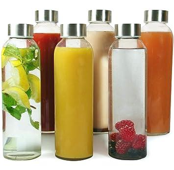 Set de 6 Botellas Reutilizables de Vidrio sin BPA con Funda de Nailon y Tapa a Prueba de Fugas Para Batidos T/é y Otras Bebidas Para Adultos y Ni/ños 6 x 500 ml Botellas de Agua de Cristal Zumos