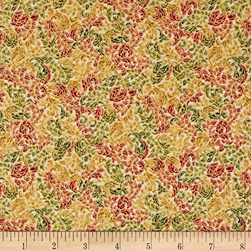 llic Small Leaf Swirl Holiday Fabric By The Yard (Robert Kaufman Fusions)