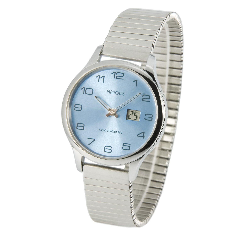 Elegante MARQUIS Damen Funkuhr (Junghans-Uhrwerk) GehÄuse und Armband aus Edelstahl 964.4905