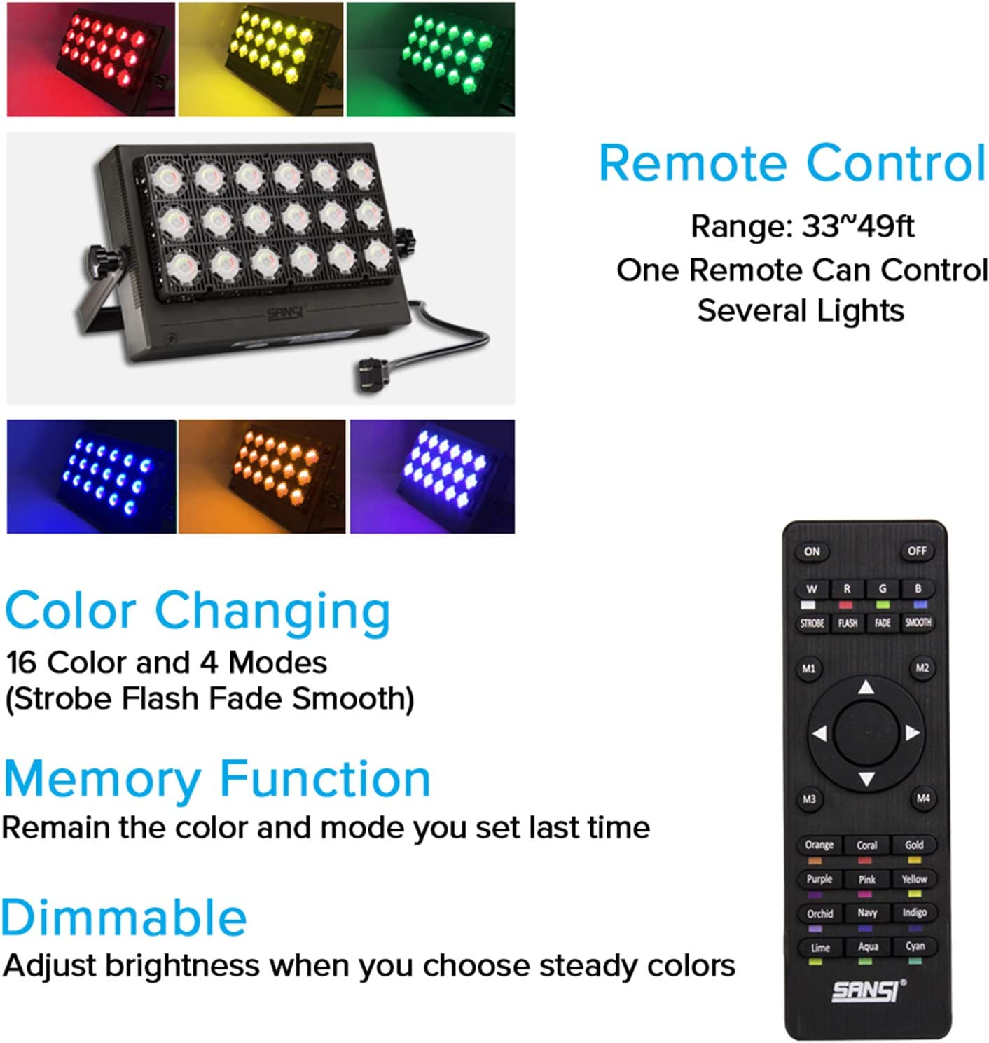 Sansi 100w Rgb Led Flood Light With Plug 16 Colors 4 Modes Color Changing Dimmable Decorative Party Stage Landscape Light With Remote Control Ip66 Waterproof Super Bright Led Security Ac100 240v Amazon Com