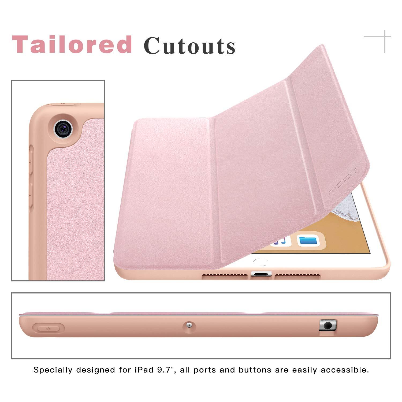 A1893 // A1954 Negro Cubierta Port/átil Genuino Estuche Plegable con Ranuras para Tarjeta de Documento Smart Cover para Apple iPad 9.7 2018 Tableta MoKo Funda para Apple iPad 9.7 2018