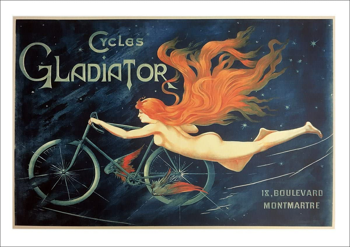 Lady Flying Bicycle Cycles Gladiator Bike Vintage Poster Repro FREE SH