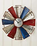 Lakeside Collections Metal Windmill Wall Clock (Metal Windmill Wall Clock, Americana)