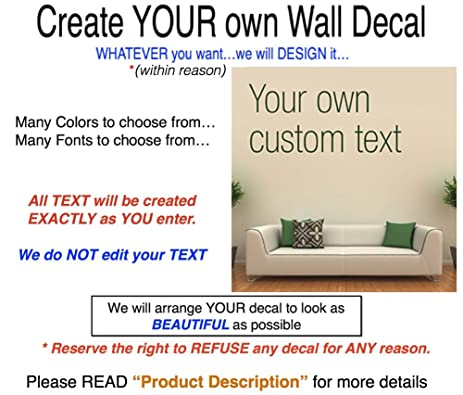 Amazoncom Create Your Own Wall Decal Many Sizes Fonts Colors - Make your own wall decal