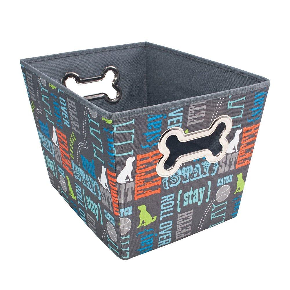 Paw Prints 37409 Wordplay Design Fabric Pet Toy Bin, 14.5'' L x 10'' W x 10'' H