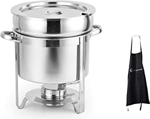 11 Qt Deluxe Marmite Soup Chafer Stainless Steel with Chrome Accents with 1 Apron by ChefMaid