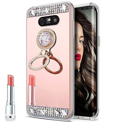 half off 0e5dc e2259 LG G5 Case,LG G5 Mirror Case, Slim Luxury Hybrid Rhinestone Diamond Glitter  Bling Mirror Back Shock-Absorption TPU Bumper Protective Case with Ring ...