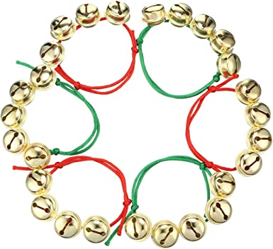 Yaomiao 48 Pieces Christmas Jingle Bells Bracelets Xmas Jingle Bells Bracelets Red and Green Adjustable Bracelets for Christmas Holiday Party Accessories Home Decor