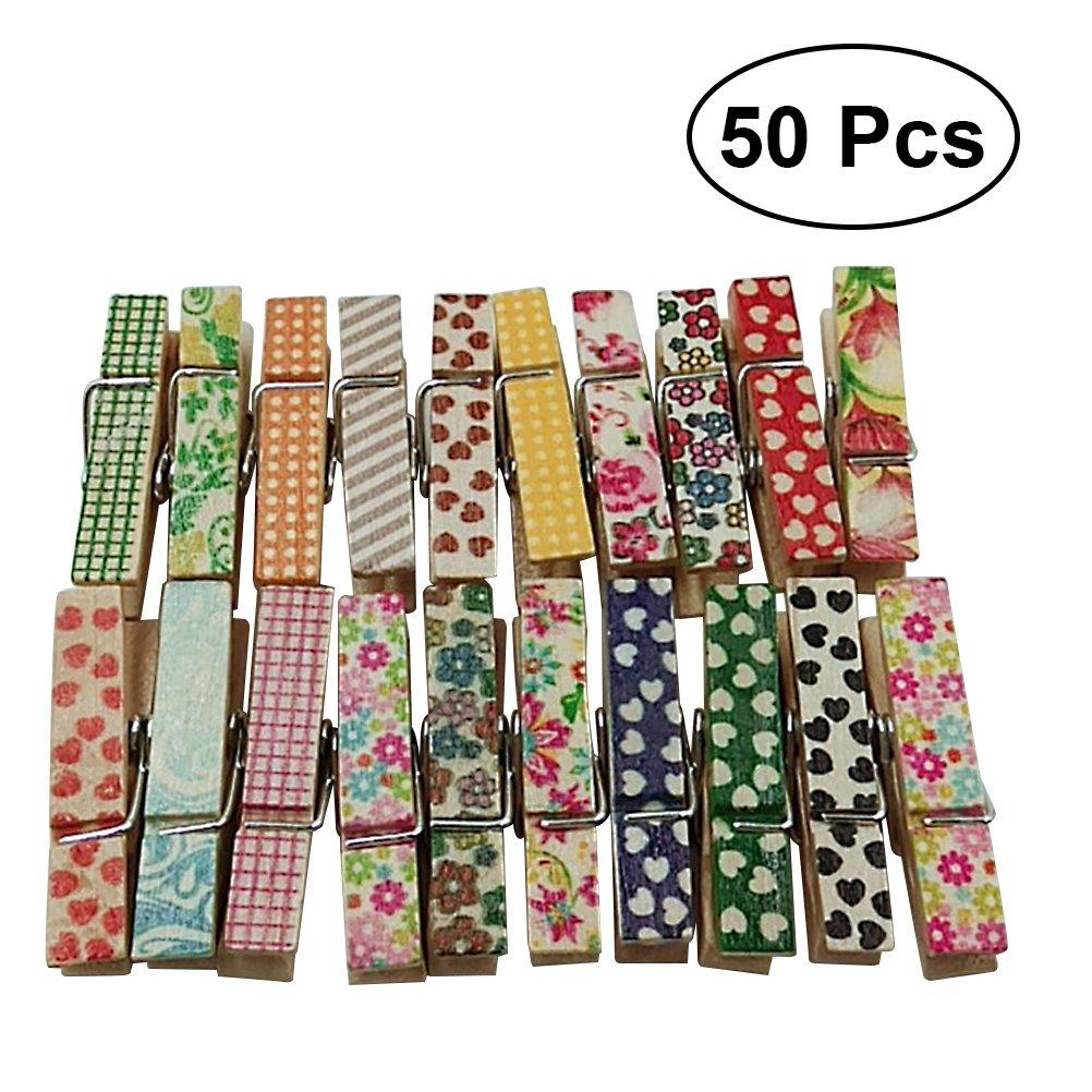 Healifty Pinces Bois Pinces de bricolage 50pièces (couleurs assorties)