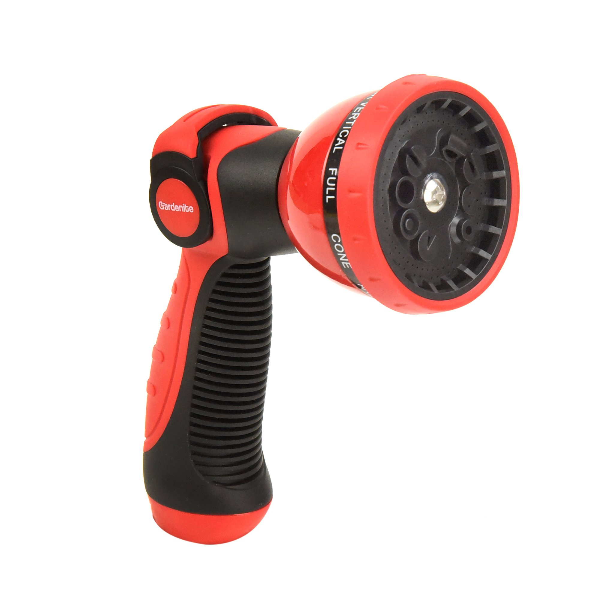 Heavy Duty 10 Pattern Garden Hose Nozzle Hand Sprayer - Metal Watering Nozzle - High Pressure | Thumb Switch Flow Control Spray Attachment | Suitable for Car Wash, Cleaning, Watering Lawn and Garden