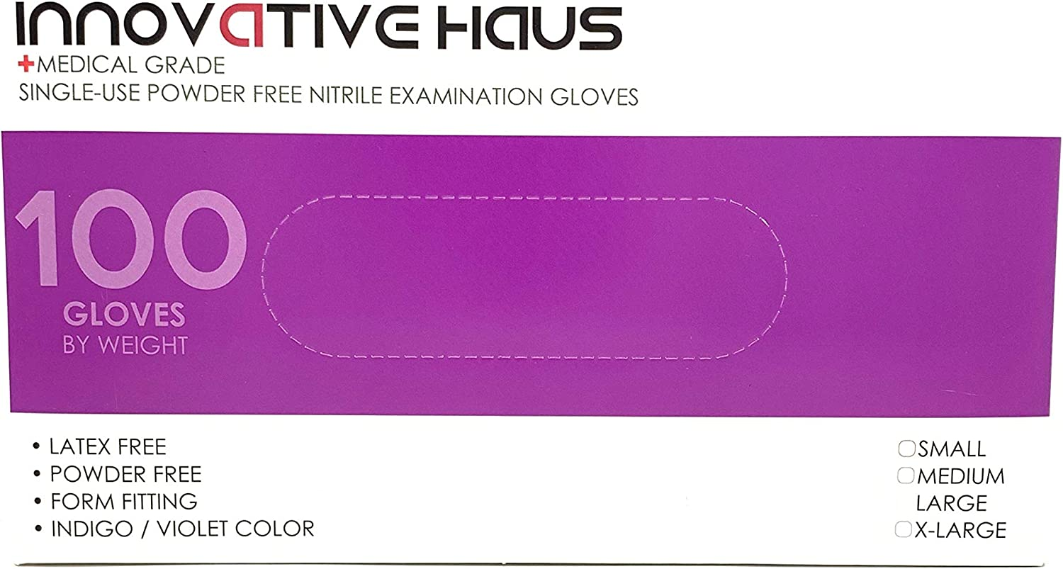 Innovative Haus X-Large Nitrile Gloves,Powder Free,Latex Free Gloves,Disposable Gloves,Gloves Disposable,Non Sterile,Food Gloves,Textured,Indigo Color,Box of 100 NGXL