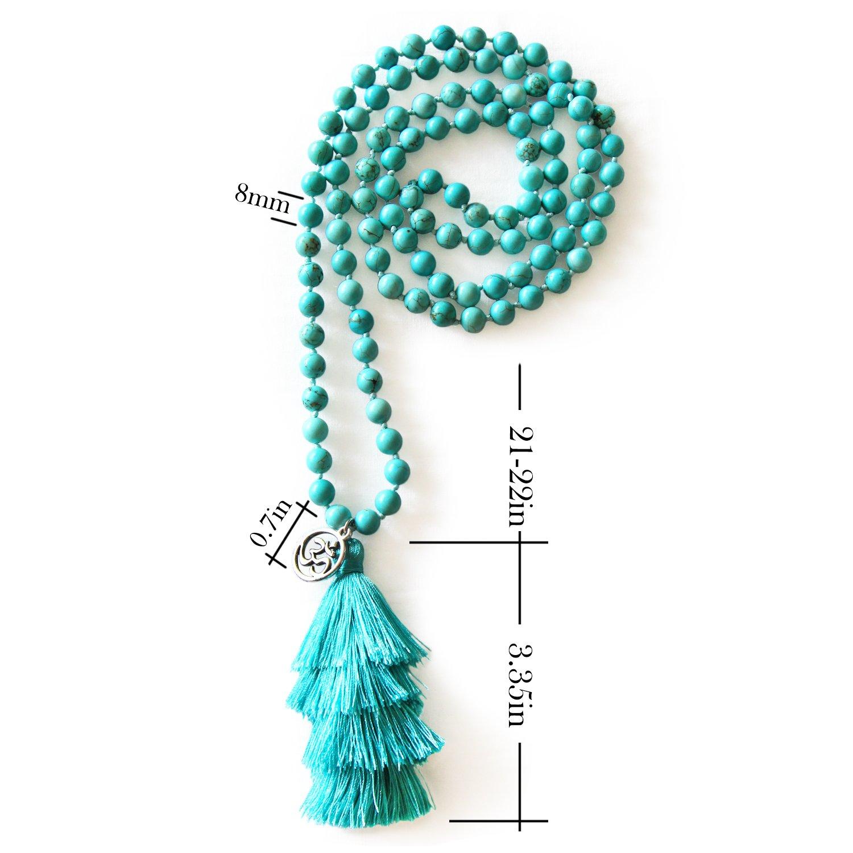 MHZ JEWELS Turquoise Mala Beads Necklace Bracelet Gemstone Prayer Beaded Meditation Yoga Necklace for Women by MHZ JEWELS (Image #3)