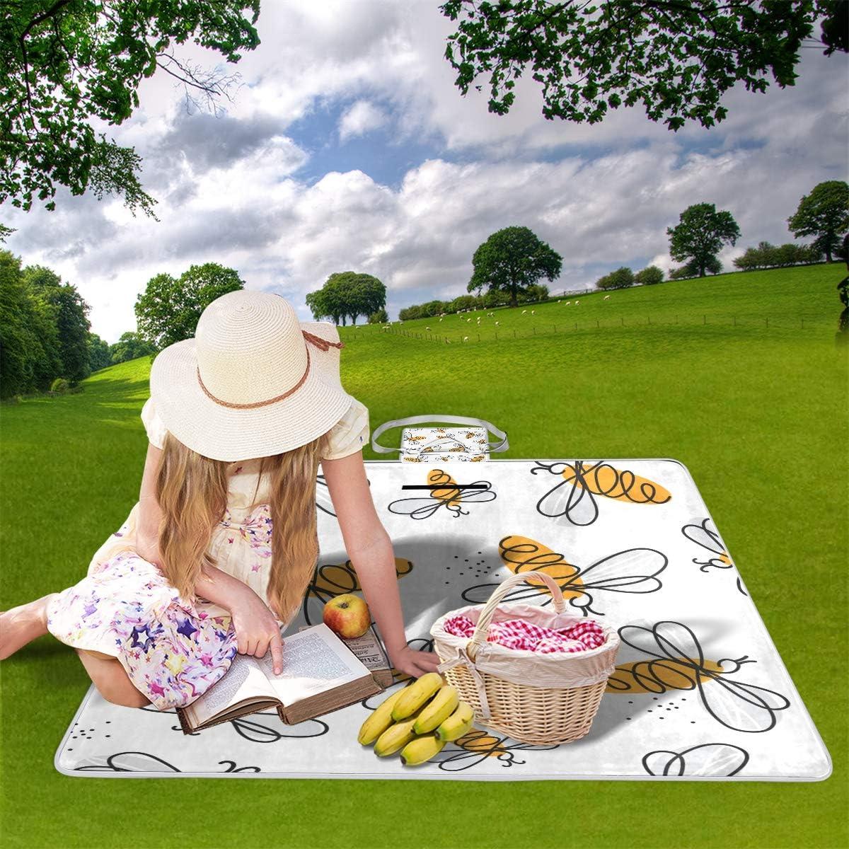 XINGAKA Coperta da Picnic Tappetino Campeggio,Raccolta Disegnata a Mano di Scarabocchio impreciso della Birra Senza Cuciture,Giardino Spiaggia Impermeabile Anti Sabbia 6