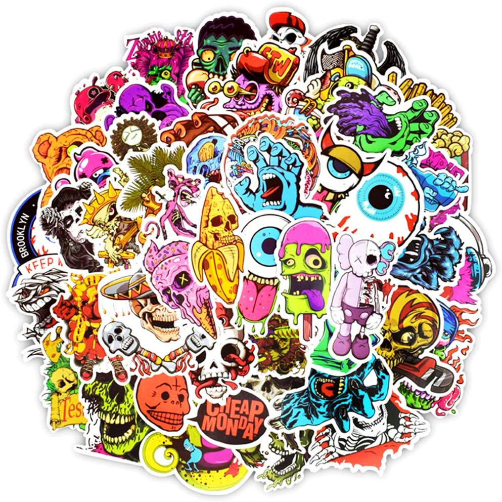 Vinyl Horror Stickers 50 Pcs Scary Stickers Pack Horror Decals Stoner Stickers for Laptop Ipad Car Luggages Water Bottle Helmet