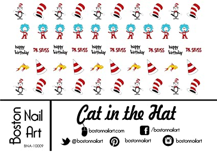 Amazon.com : Cat in the Hat Waterslide Nail Decals - 50PC : Beauty