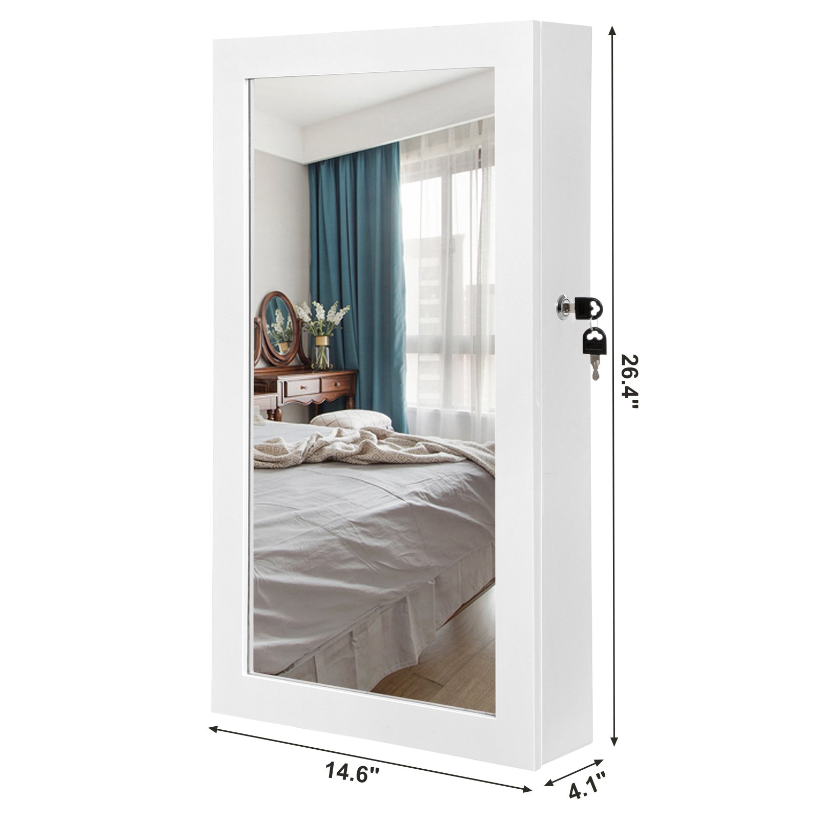 SONGMICS Lockable Jewelry Cabinet Armoire with Mirror, Wall-Mounted Space Saving Jewelry Storage Organizer White UJJC51WT by SONGMICS (Image #7)
