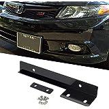 Partsam 1 Set Universal Fit Front Bumper License Plate Mounting Kit Bracket Holder Relocate Bar Black Aluminum Metal