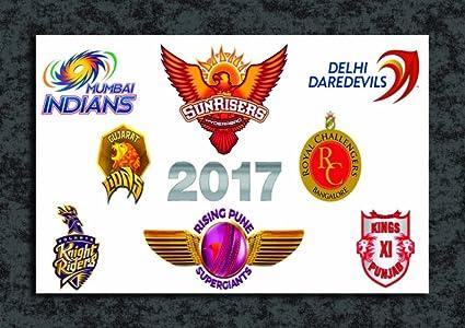 tamatina wall poster all teams logo with ipl 2017 logo ipl