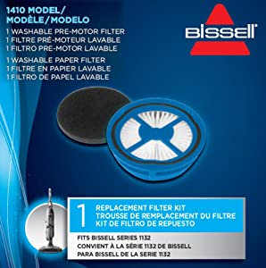 Bissell 1410 Symphony Hard Floor Vacuum and Steam Motor Filters Replacement Kit