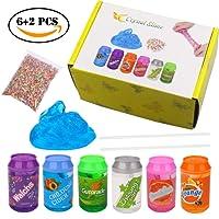 BESTZY Slime Fluffy Clear Slime Kit - 6 Paquets Boue de Cristal avec pailles et tranches de Fruits, Super Doux Non Collant, des Cadeaux Parfaits pour Les garçons et Les Filles