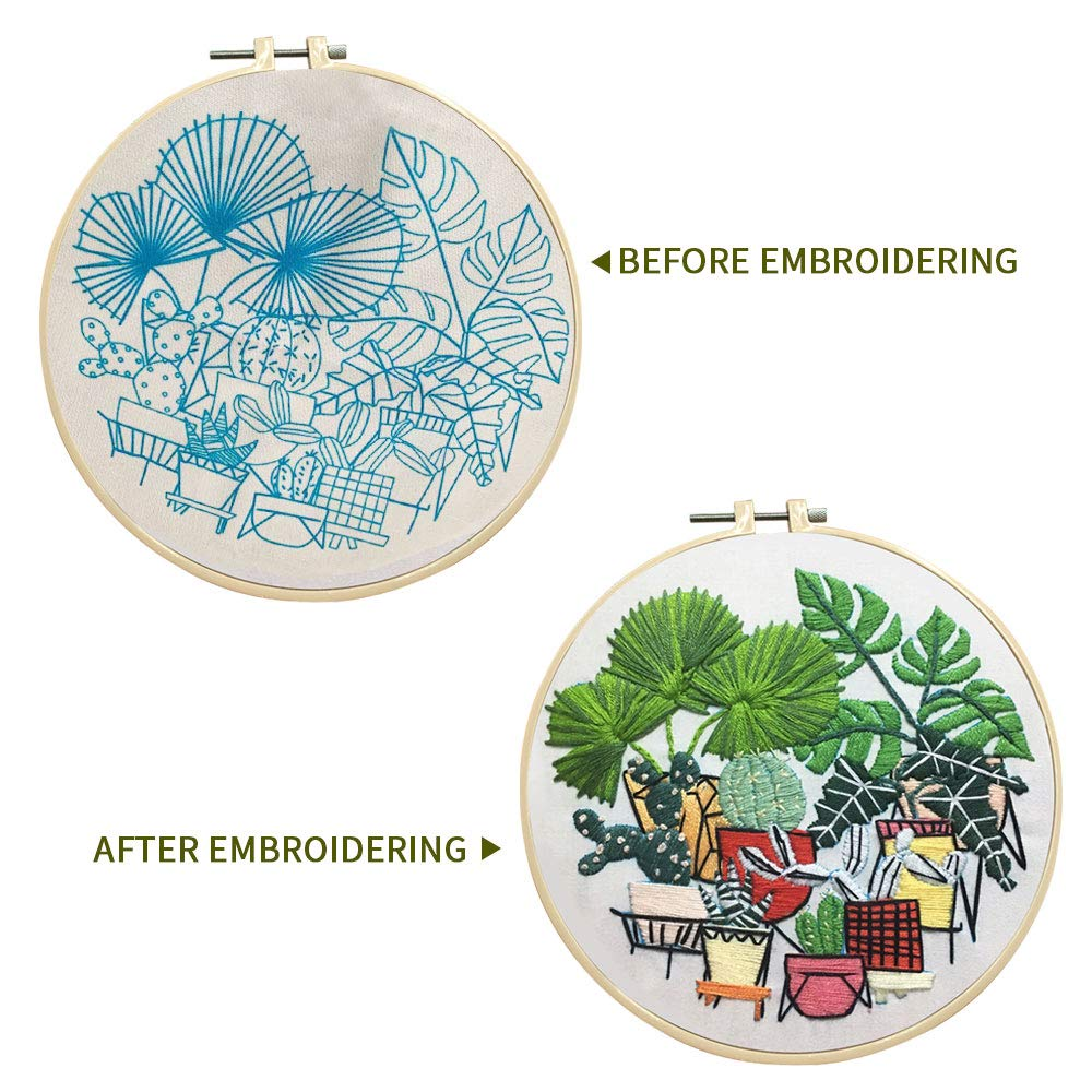 SUNTQ Embroidery Kit for Beginners Adults Cross Stitch Kit Hand Embroidery Starter Kit with Patterned Embroidery Cloth Hoop Thread Floss Craft Project Flower Pattern 4
