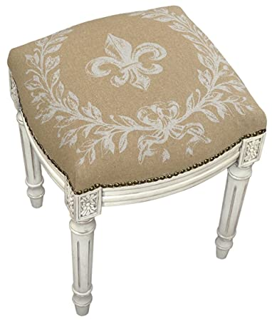 accent furniture fleur de lis upholstered stool vanity seat beige linen seat cushion