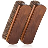 """6.7"""" Horsehair Shoe Shine Brushes with Horse Hair Bristles for Boots, Shoes & Other Leather Care, 2 Pack (Brown)"""