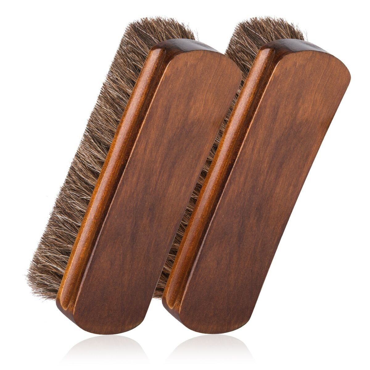 6.7'' Horsehair Shoe Brushes with Horse Hair Bristles for Boots, Shoes & Other Leather Care, 2 Pack (Brown)