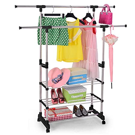 ALstore Durable Portable Adjustable Double Hanging Rail Rolling Clothes 3 Layer Garment Rack Hanger