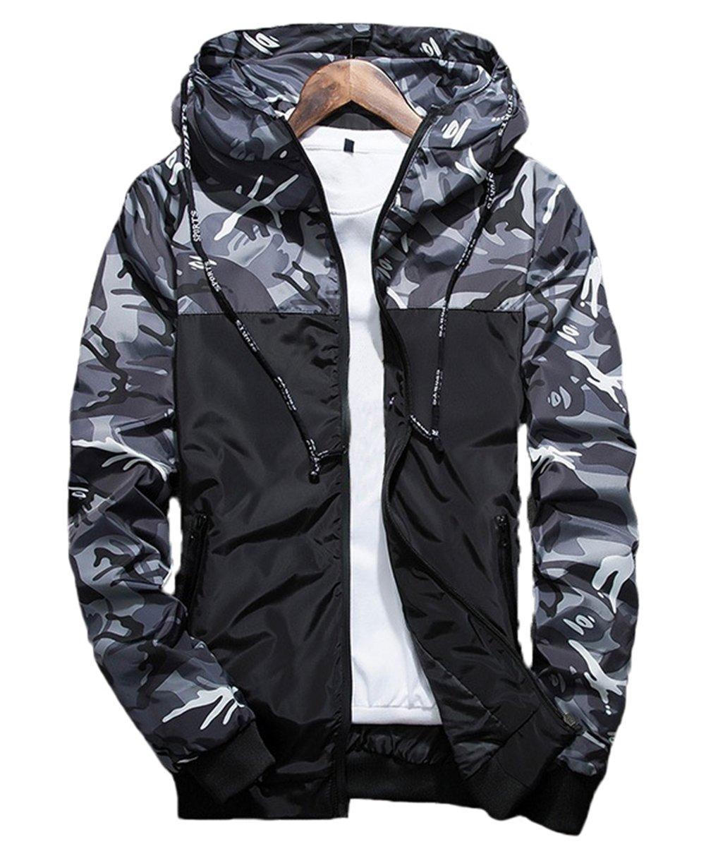 XARAZA Men's Long Sleeve Camo Hoodie Jacket Outwear Hooded Windbreaker (US-XL=Tag 3XL(Asian Size), Grey)
