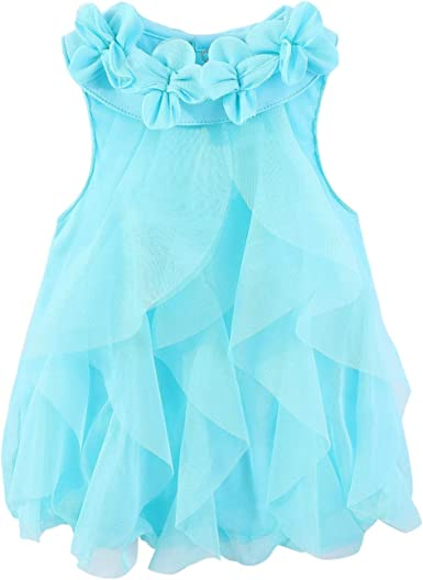 LittleSpring Toddler Baby Girls Summer Ruffled Sleeve One-Piece Romper Bodysuit