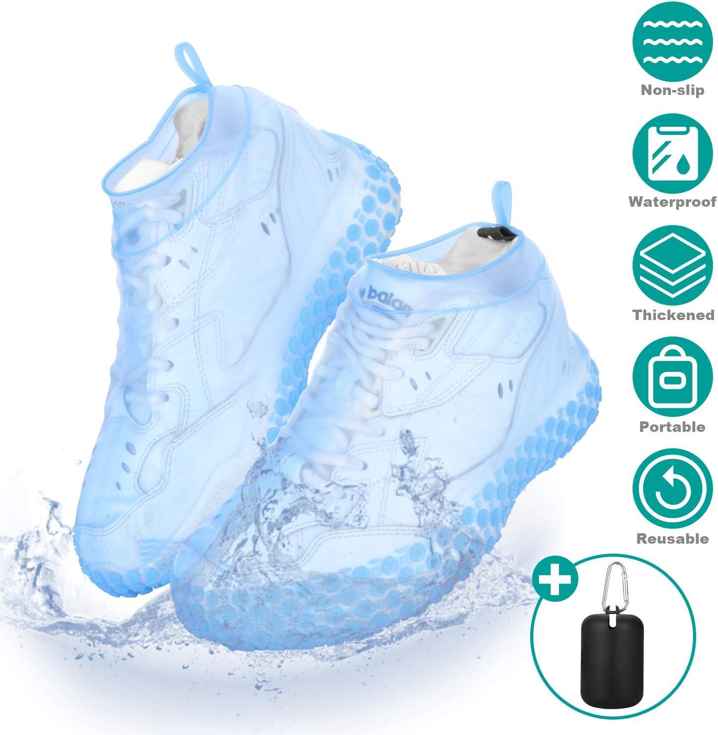 JNUYISW Waterproof Shoe Covers,Reusable Non Slip Silicone Shoe Covers,Rain Snow Overshoe Foldable Galoshes for Men,Women,Kids
