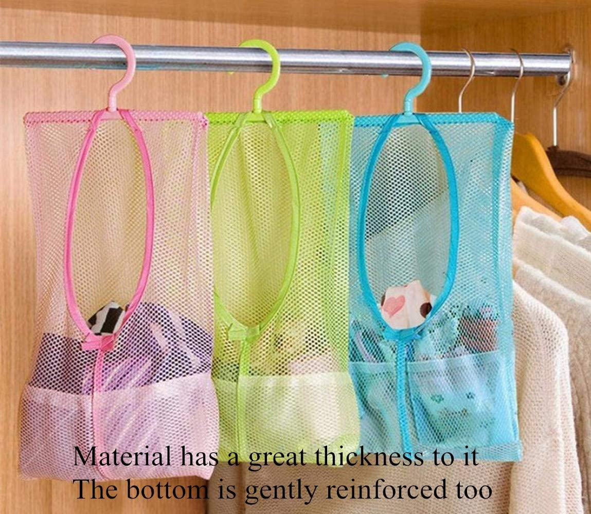 DurReus Multipurpose Clothespin Bag with Hanger,Hanging Mesh Drying Bag Laundry Shower Caddy Kitchen Bathroom Storage Organizer 3 Pack