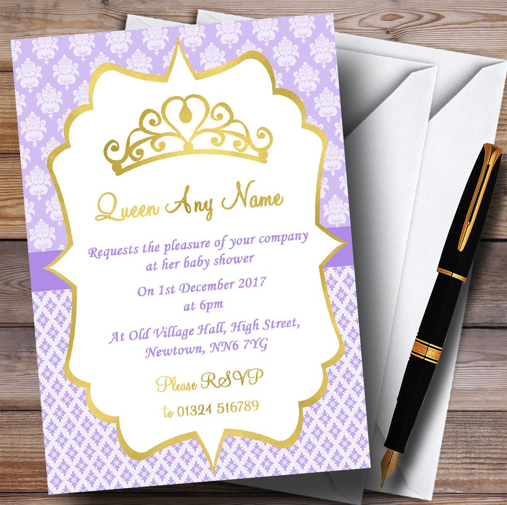 Purple & Gold Crown Princess Invitations Baby Shower Invitations