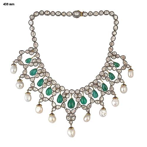 c3ca92e10c217 Amazon.com: costozon uncut diamond necklace sets 58.3 Tcw Emerald ...