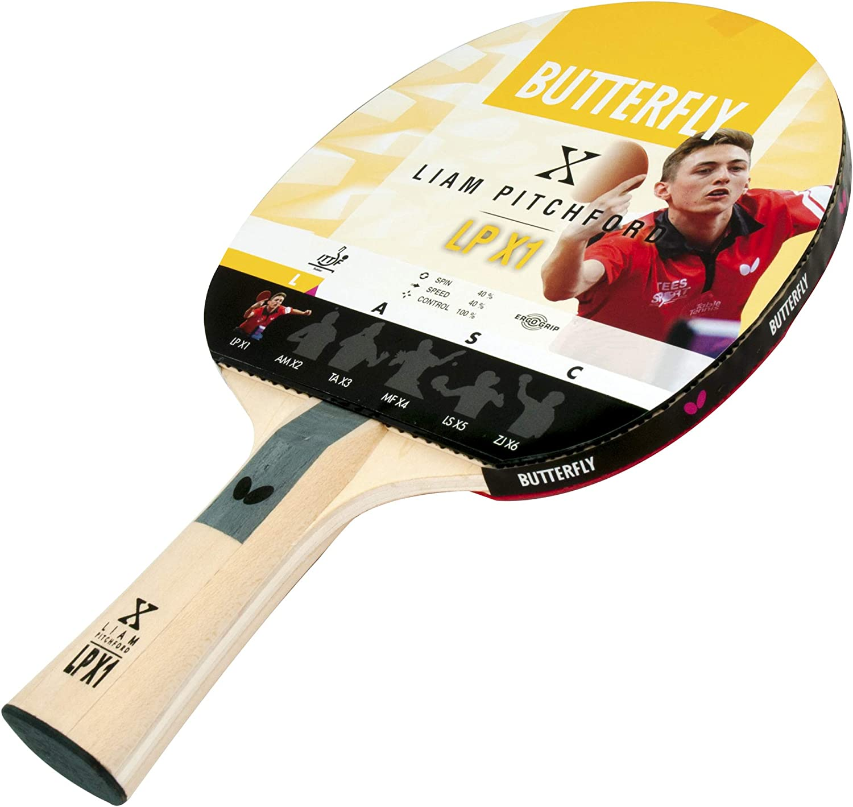Butterfly Unisex 1Liam Pitchford LPX 1Raqueta de Tenis de Mesa, Color Negro/Rojo, tamaño Completo