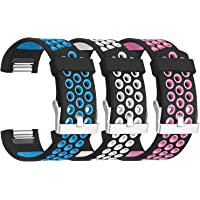 3-Pack SKYLET Fitbit Charge 2 Silicone Replacement Bands (Various Colors)