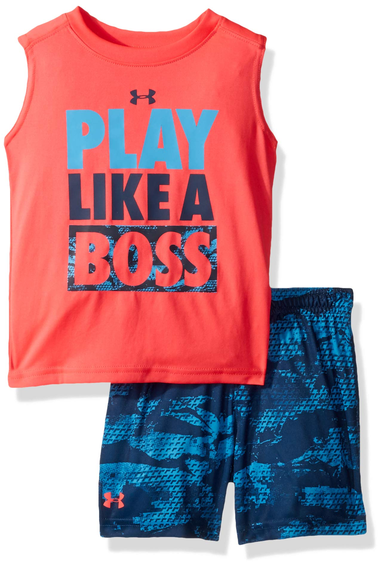 Under Armour Boys' Baby UA Muscle Tank and Short Set, Red Rage-S19, 12M
