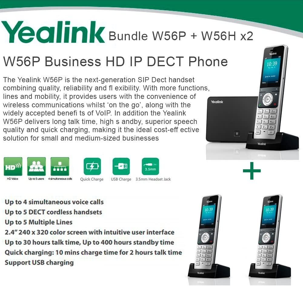 Yealink W56P W56H X2 Cordless VoIP Phone PoE HD Voice and Base Unit USB Charge