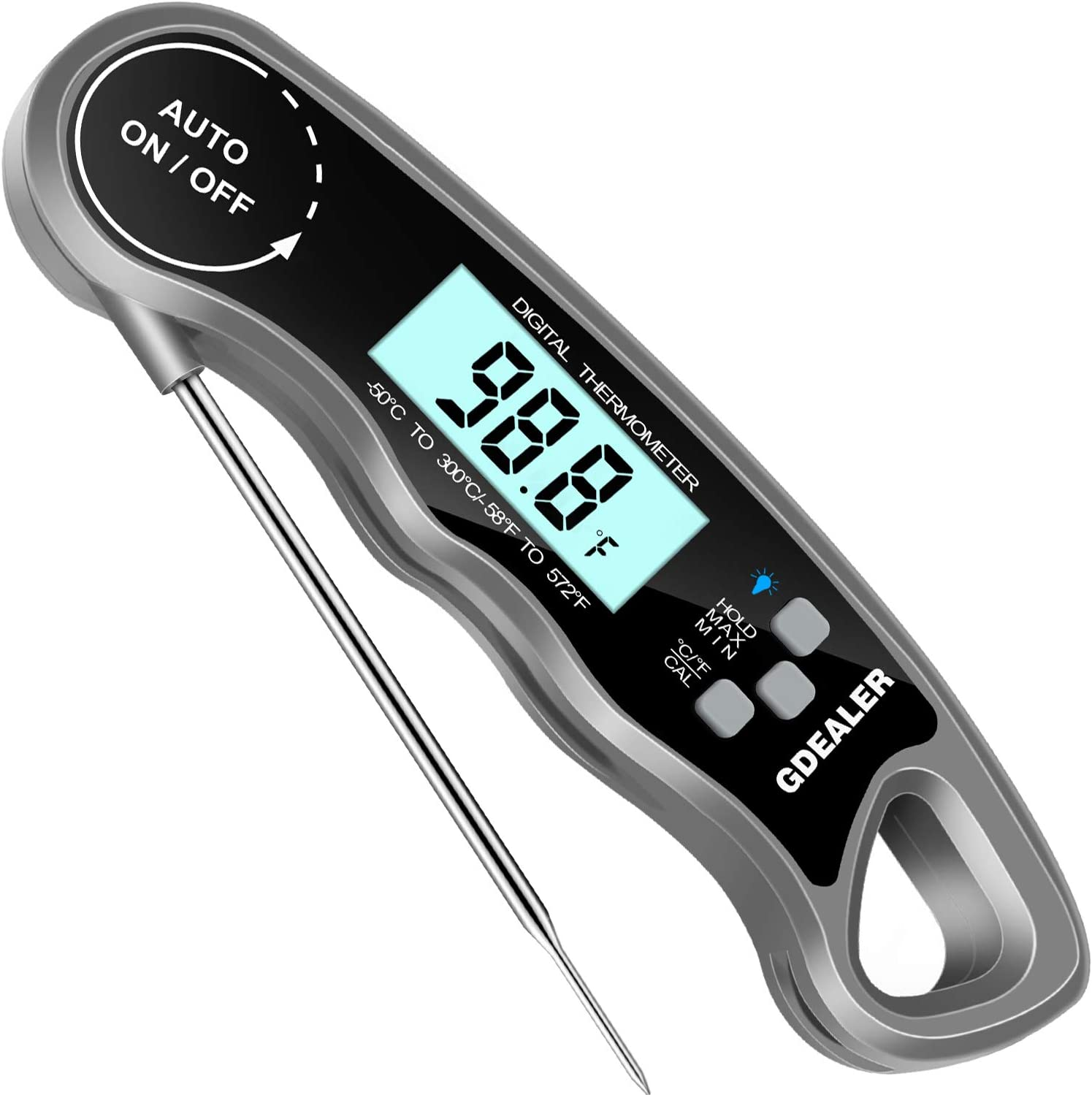 "GDEALER Meat Thermometer Digital Instant Read Thermometer Ultra-Fast Cooking Food Thermometer with 4.6"" Folding Probe Calibration Function for Kitchen Milk Candy, BBQ Grill, Smokers Gray"