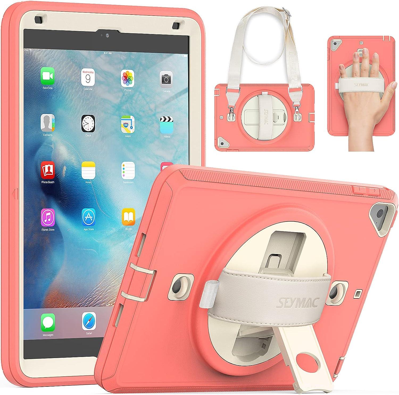 SEYMAC iPad Mini Case 4th Generation, iPad Mini 5 Case Heavy Duty Rugged Protective Case [with Screen Protector Hand Strap] Mini Case for iPad Mini 5th Gen 2019/iPad Mini 4 2015 Beige/Light Orange