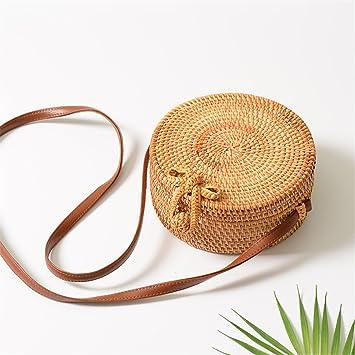 Amazon.com: Bolsas de paja redondas para mujer, bolsa de ...