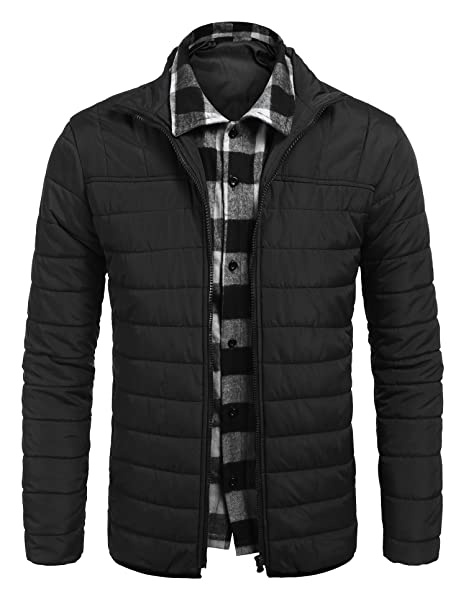 Amazon.com: jinidu Mens Layered Puffer Jacket Packable ...