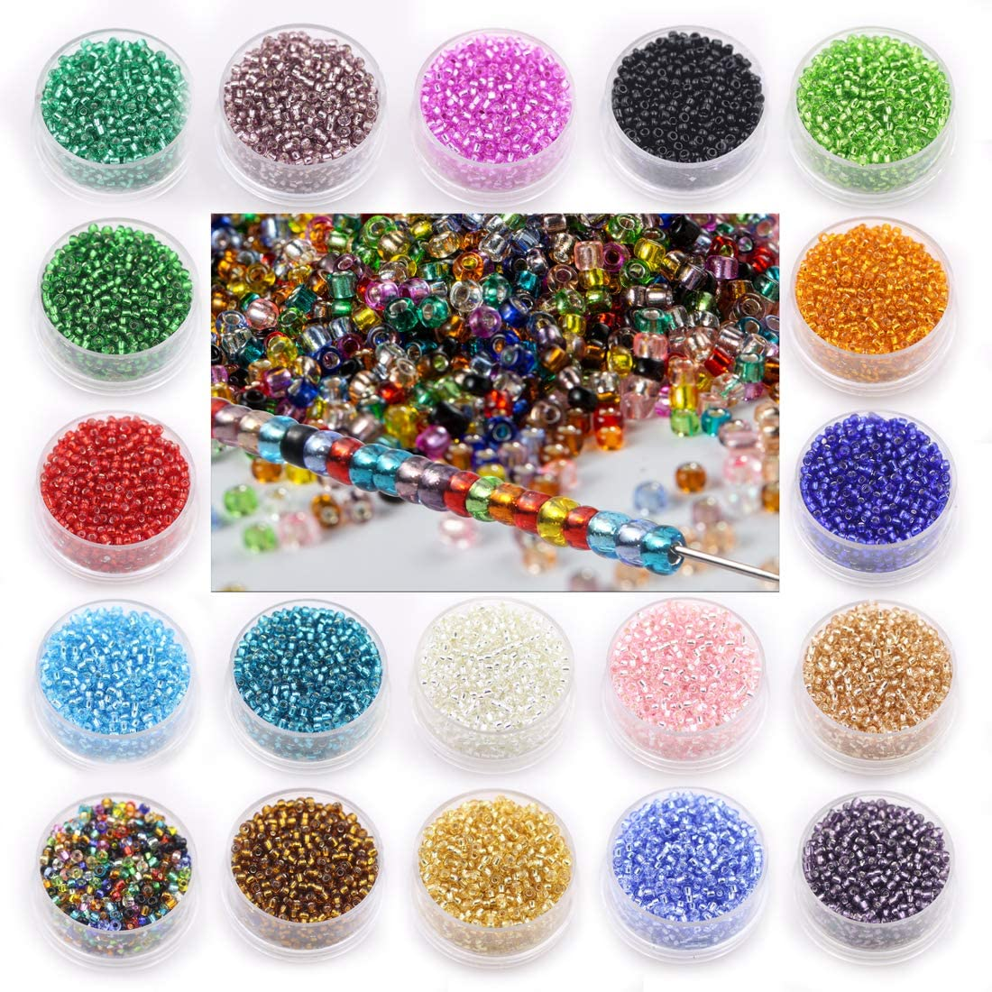 12/0 Glass Seed Beads for Jewelry Making, About 19000pcs Silver Lined Glass Beads19 Multicolored 2mm Spacer Beads Clear with Container Box