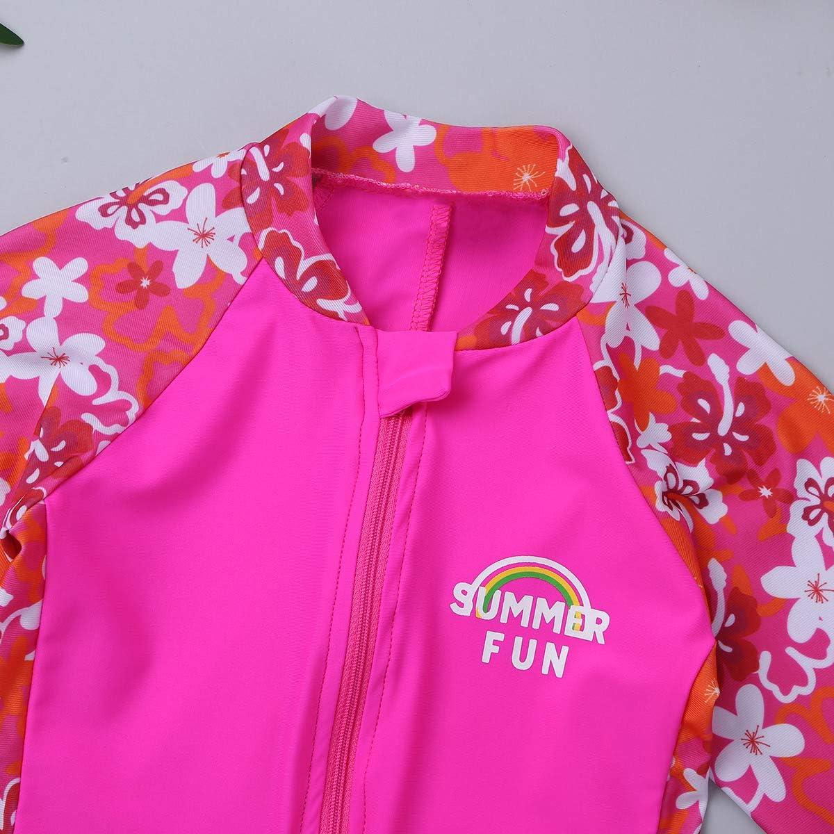 YiZYiF Kids Girls Full Body Swimsuit UV Sun Protective One-Piece Long Sleeve Floral Sunsuit Rashguard Sets
