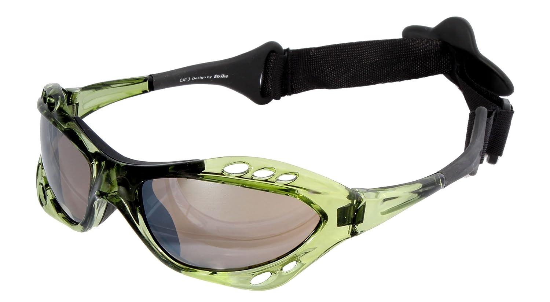 STRIKE EYEWEAR Wassersport Brille Kitebrille Sportbrille 078 mit Kopfband grün für Wakeboarding Kitesurfen Segeln