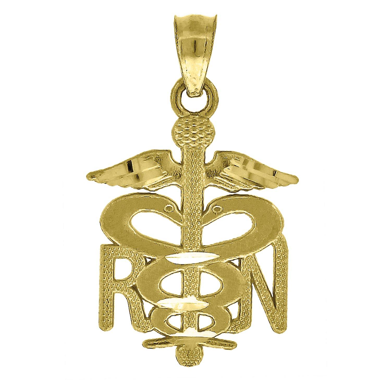 Jewels By Lux 10k Yellow Gold Diamond-cut Textured Unisex Registered Nurse Ht:23mm x W:13mm Badge Charm Pendant
