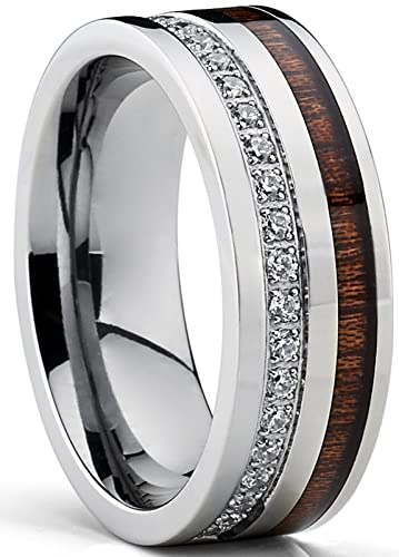 Titanium Mens Wedding Band Ring With Real Koa Wood Inlay Cubic Zirconia CZ 8MM Comfort