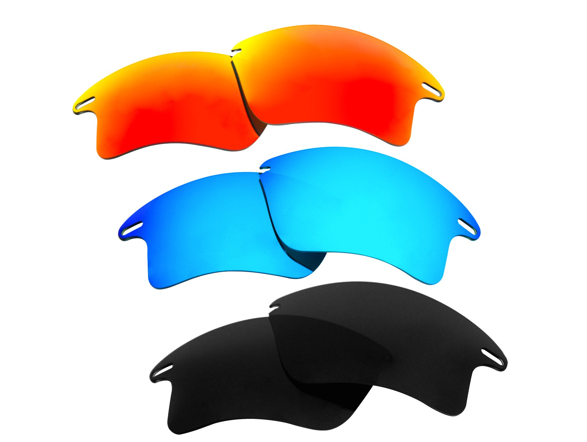 3 Pairs Polarized Replacement Sunglasses Lenses for Oakley Fast Jacket XL with Excellent UV Protection by C&D