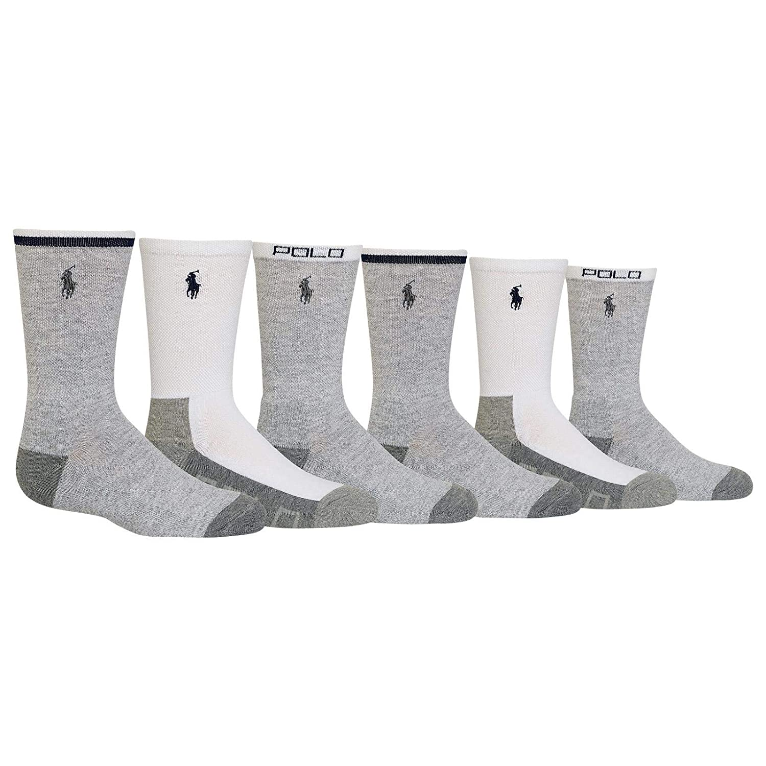 Polo Kids Socks for Boys 6-Pack Pique Sport Crew Socks Grey Assorted 2-12 Years Kids//Boys//Girls 4-10 Shoe// 9-11 Sock